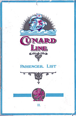 Front Cover, Cunard RMS Samaria Second Class Passenger List - 23 August 1923.