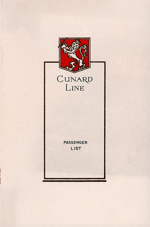 Front Cover, Cunard Line RMS Samaria Cabin and Tourist Class Passenger List - 29 August 1931.