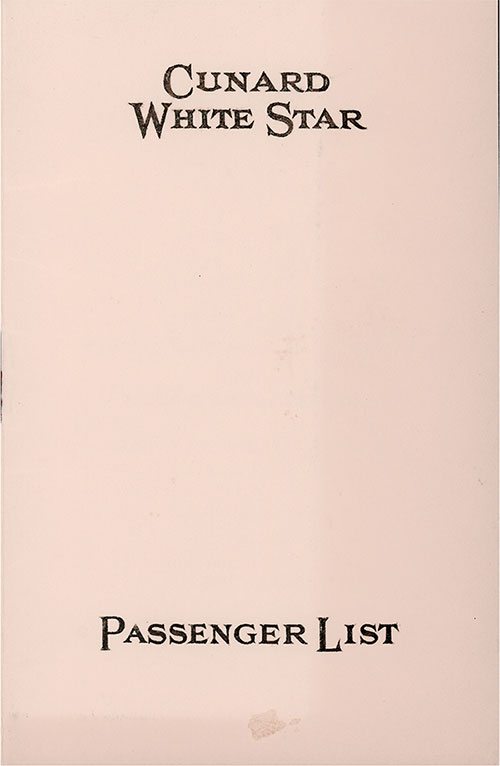 Front Cover, Cunard Line RMS Samaria Third Class Passenger List - 27 July 1935.