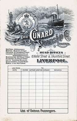 Passenger Manifest, Cunard Line RMS Saxonia, 1904, Liverpool to Boston