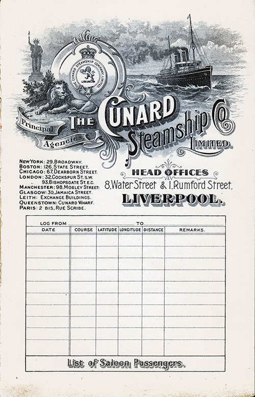 Front Cover, Cunard Line RMS Saxonia Saloon Class Passenger List - 25 October 1904.