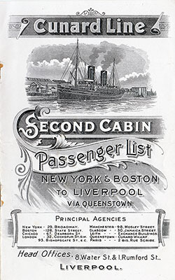 Front Cover, Cunard SS Saxonia Second Cabin Passenger List - 23 May 1905.