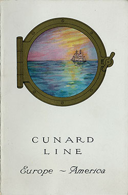 Front Cover, Cunard RMS Scythia Saloon and Second Class Passenger List - 20 August 1921.