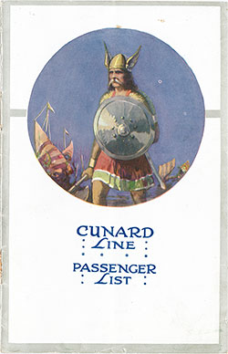 Front Cover, Cunard RMS Scythia Saloon and Second Class Passenger List - 17 August 1922.