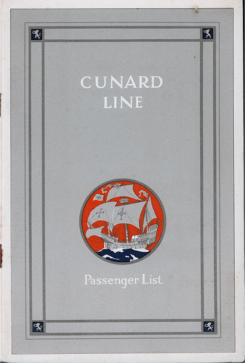 Front Cover, Cunard Line RMS Scythia Cabin Passenger List - 27 July 1929.