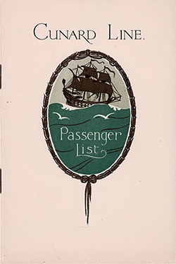 Front Cover, Cunard Line RMS Scythia Tourist Third Cabin Passenger List - 19 October 1929.