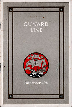 Front Cover, Cunard Line RMS Scythia Cabin Class Passenger List - 5 April 1930.