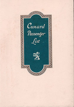 Front Cover, Cunard Line RMS Scythia Tourist Third Cabin Passenger List - 20 September 1930.