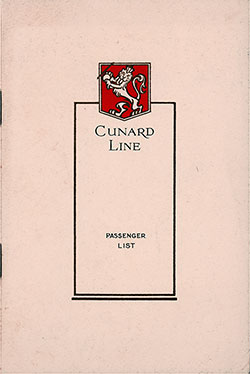 Front Cover, Cunard Line RMS Scythia Cabin Class Passenger List - 10 January 1931.