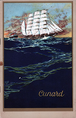 Front Cover, Cunard Line TSS Tuscania Second Class Passenger List - 9 August 1929.