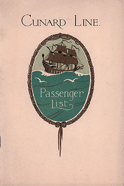 Front Cover, Cunard Line RMS Tuscania Tourist Third Cabin Passenger List - 24 August 1929.