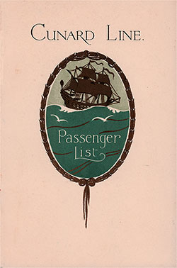 Front Cover, Cunard Line RMS Tuscania Tourist Third Cabin Passenger List - 26 July 1930.