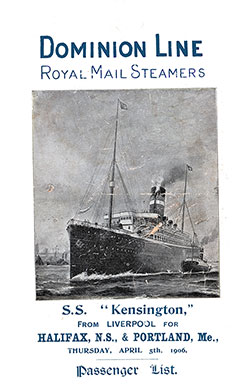 1906-04-05 Ships List for the S.S. Kensington