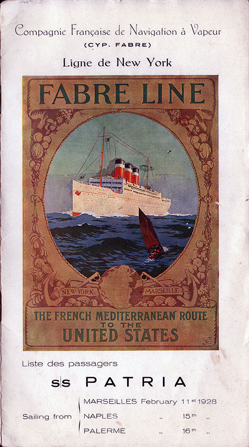 Front Cover, SS Patria Passenger List - 11 February 1928