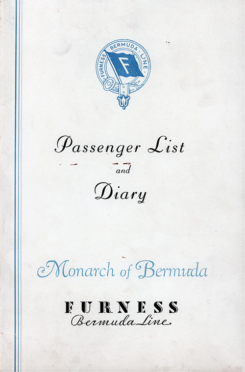 Front Cover, Furness Bermuda Line SS Monarch of Bermuda Cruise Passenger List - 17 September 1938.
