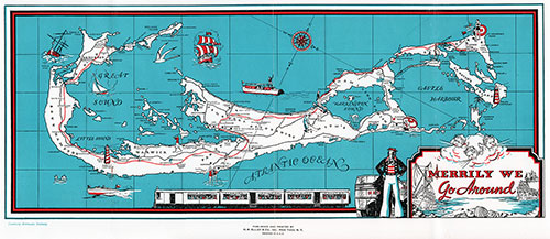 Map of the Bermuda Islands circa Late 1930s.