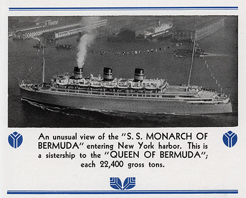 Unusual View of the SS Monarch of Bermuda Entering New York Harbor circa Late 1930s.