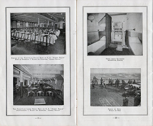 "Corner of the Third-Class Dining Room on S. S. ""Albert Ballin''"