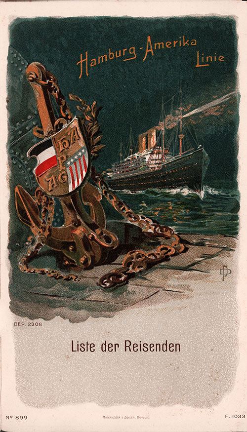 Passenger List, S.S. Amerika, Hamburg-American Line, November 1908, Hamburg to New York