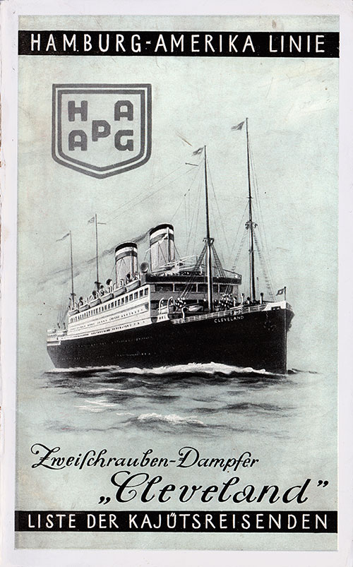 Front Cover, S.S. Cleveland Passenger List 17 October 1929