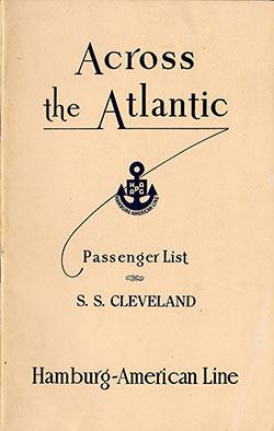1930-06-07 Ships List for the S.S. Cleveland