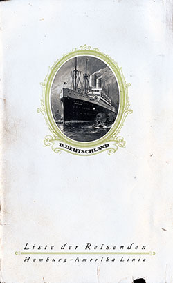 Front Cover, S.S. Deutschland Passenger List 30 July 1926
