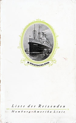 1927-08-12 Ships List for the SS Deutschland