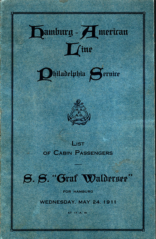 Front Cover, Passenger List, Hamburg-American Line SS Graf Waldersee, 24 May 1911