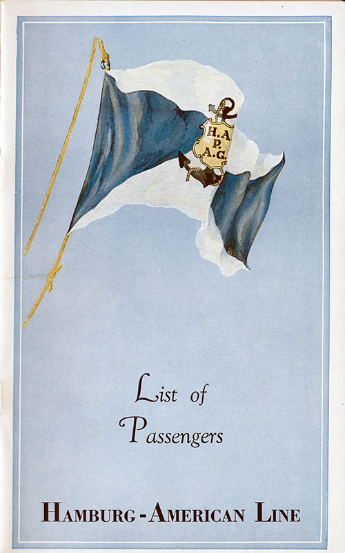 Front Cover, SS Hamburg Passenger List - 11 July 1935