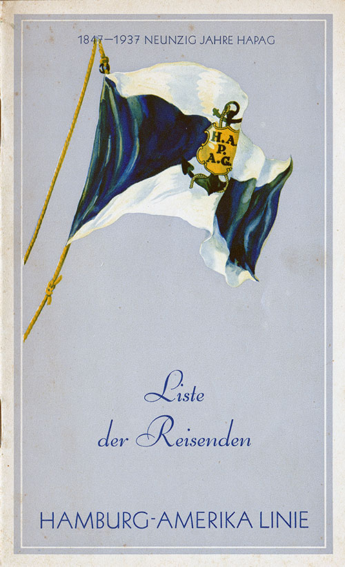 Front Cover, Passenger List, Hamburg-American Line SS Hamburg, 2 September 1937
