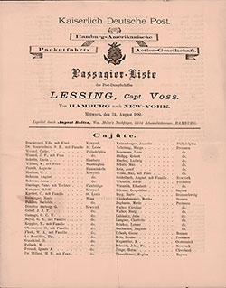 Passenger Manifest of the Steamer Lessing of the Hamburg Amerika Linie, 1881