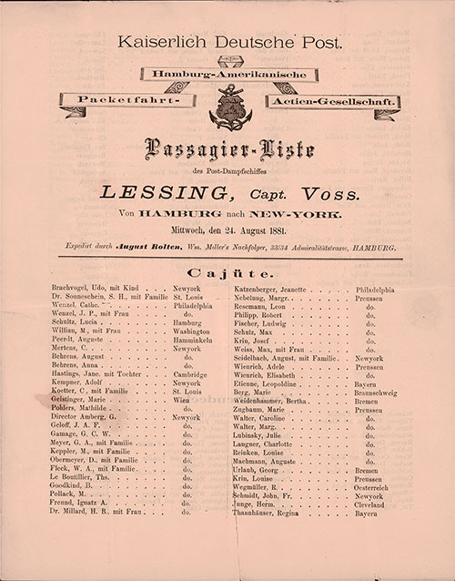 Passenger List of the Steamer Lessing of the Hamburg Amerika Linie, 1881