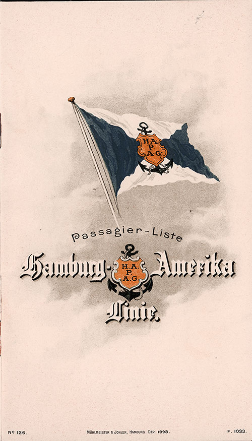 Front Cover, Passenger List, Hamburg American Line, S.S. Meteor, 4 May 1907