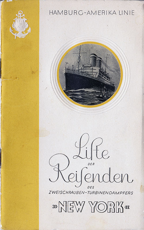 Front Cover, S.S. New York Passenger List 5 April 1929