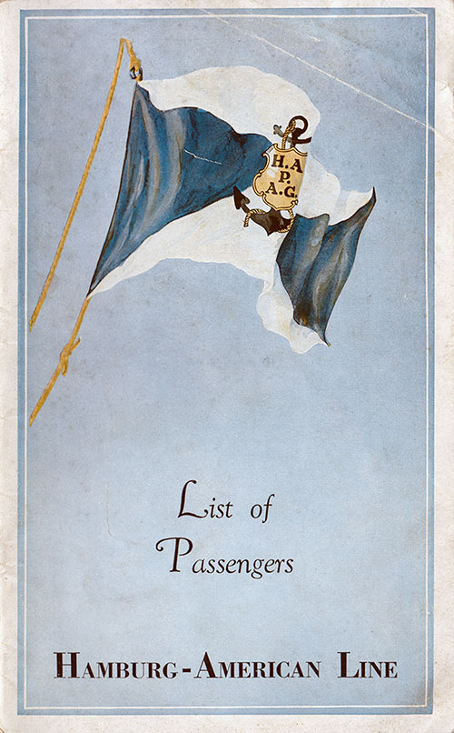 Front Cover, SS New York Passenger List 28 May 1936