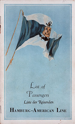 Front Cover, Hamburg American Line SS New York Cabin, Tourist, and Third Class Passenger List - 11 May 1939.