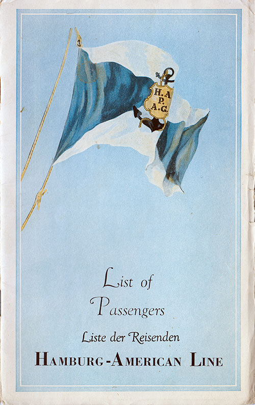 Front Cover, SS New York Passenger List - 8 June 1939