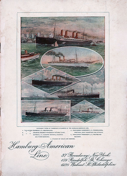 Front Cover - 22 April 1902 Passenger List, SS Pennsylvania, Hamburg-American Line