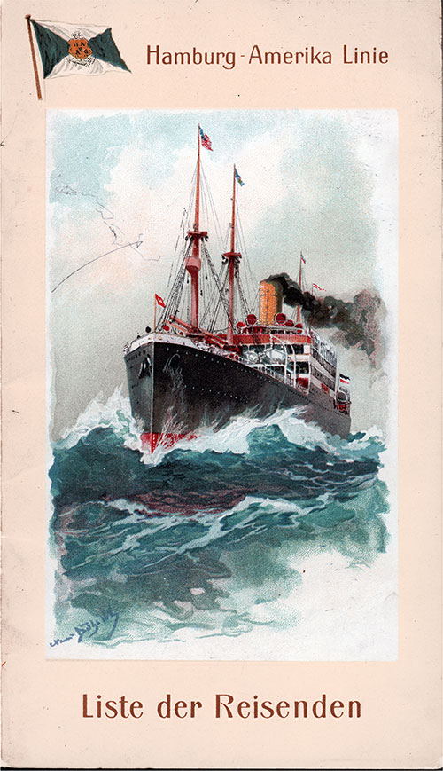 Front Cover, Passenger List, Hamburg America Line SS Pretoria, 25 October 1913