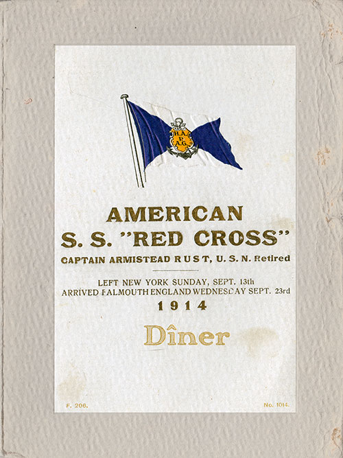 Front Cover, Passenger List, Hamburg-American Line, SS Red Cross, 13 September 1914