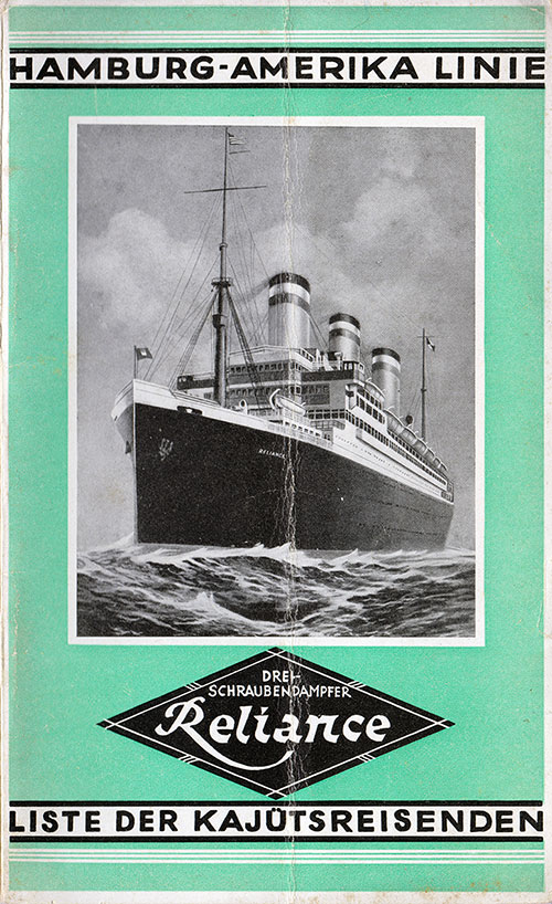 Front Cover, Passenger List, Hamburg-American Line S.S. Reliance, 30 July 1927