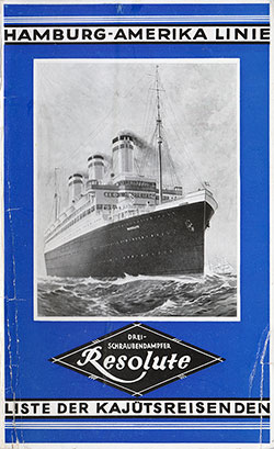 1927-08-16 Ships List for the SS Resolute