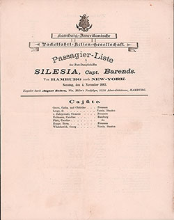 1883-11-04 Passenger Manifest for the SS Silesia