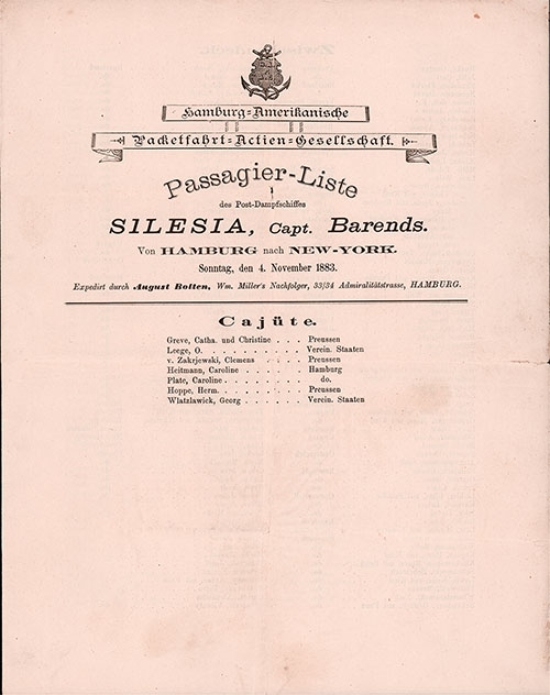 Front Page - Passenger List, Hamburg American Line, S.S. Silesia, 4 November 1883