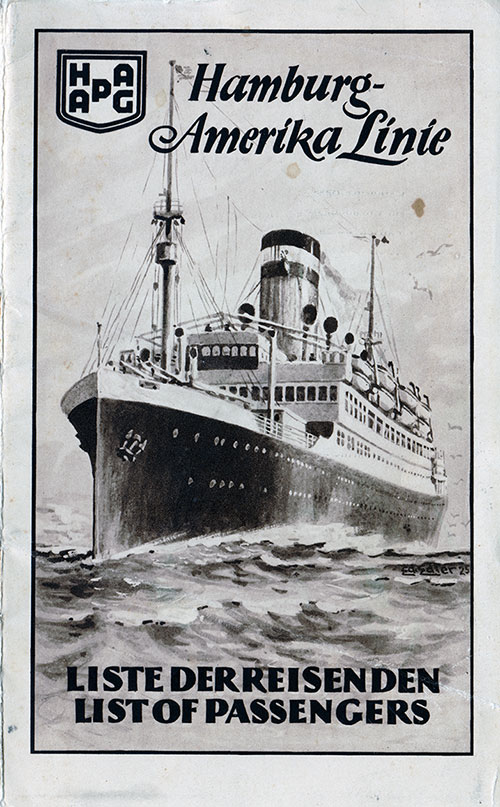 Passenger List, Hamburg Amerika Linie, SS Thuringia, September 1927