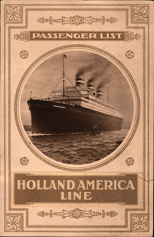 Front Cover, S.S. Potsdam Passenger List 2 August 1913