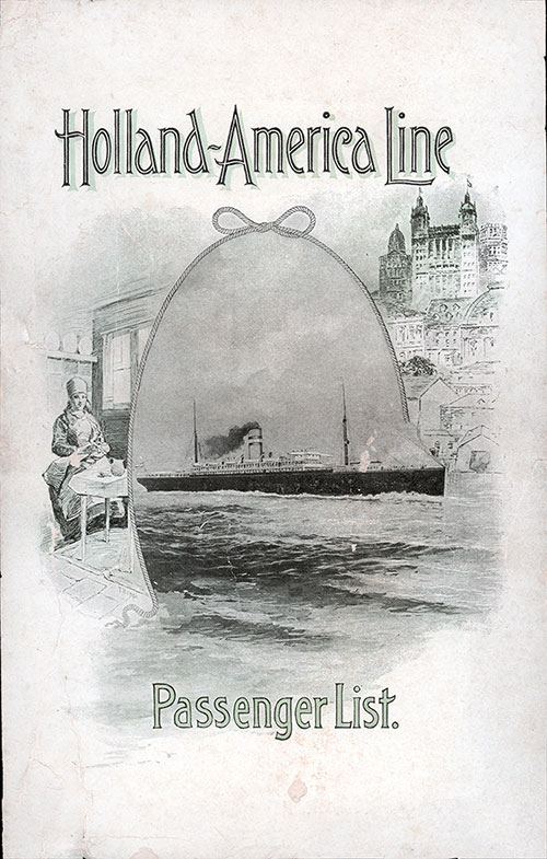 Front Cover, Holland-America Line SS Rotterdam Cabin Class Passenger List - 2 February 1904.