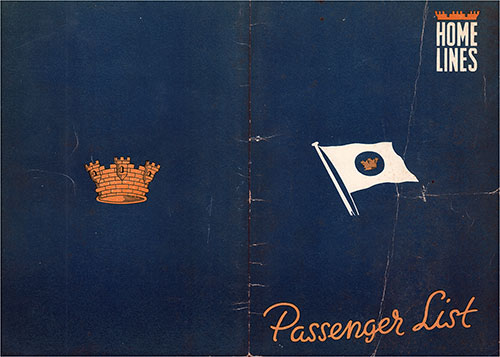 Cover, Home Lines MS Italia Tourist Class Passenger List - 20 October 1952.