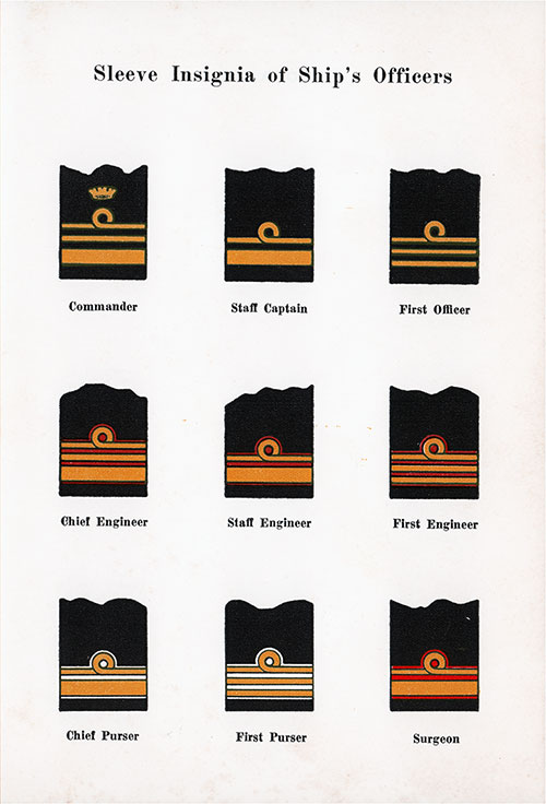 Sleeve Insignia of Home Lines Ship's Officers - 20 October 1952.