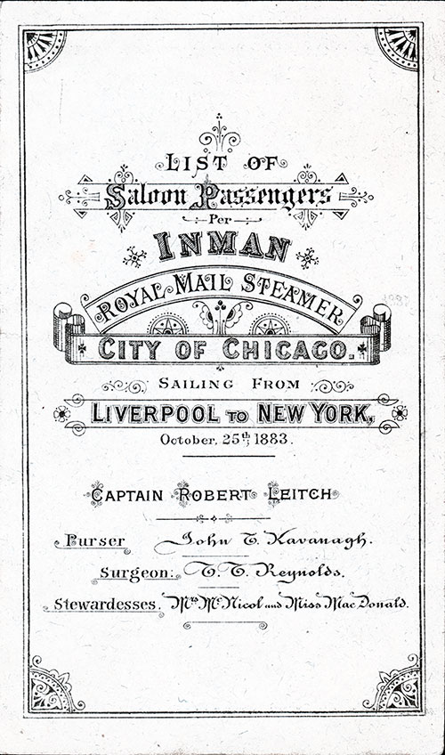 Front Cover of 1883 Passenger List of the Inman Line